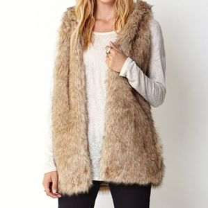 Forever 21 Faux Fur Hooded Vest